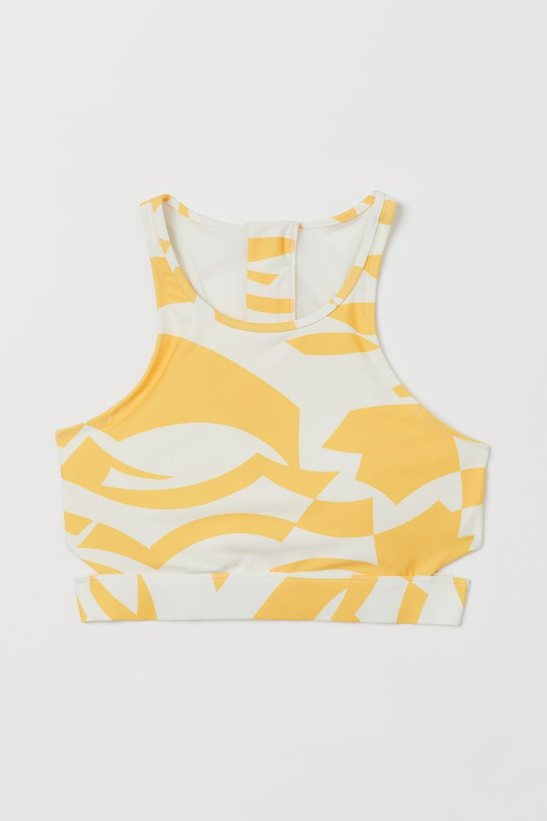 Cut-out bikini top - Yellow/Patterned - Ladies | H&M IE