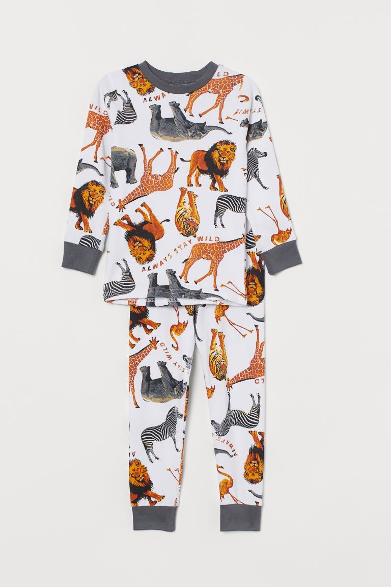 Jersey pyjamas - White/Animals - Kids | H&M