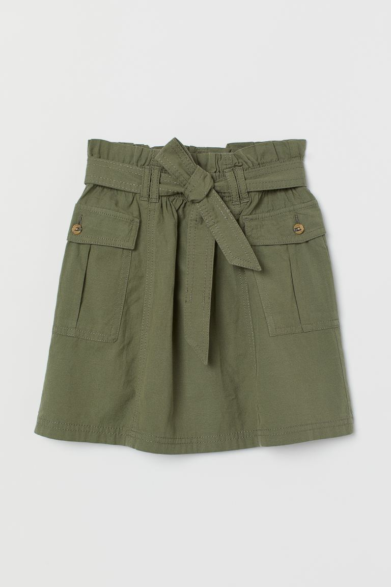 Paper Bag Skirt - Khaki green - Kids | H&M AU
