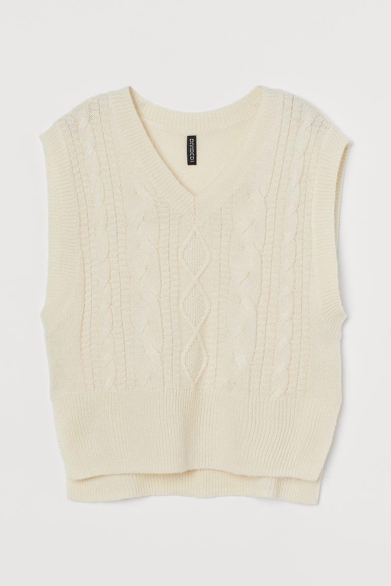 Cable-knit Sweater Vest - Cream - Ladies | H&M US