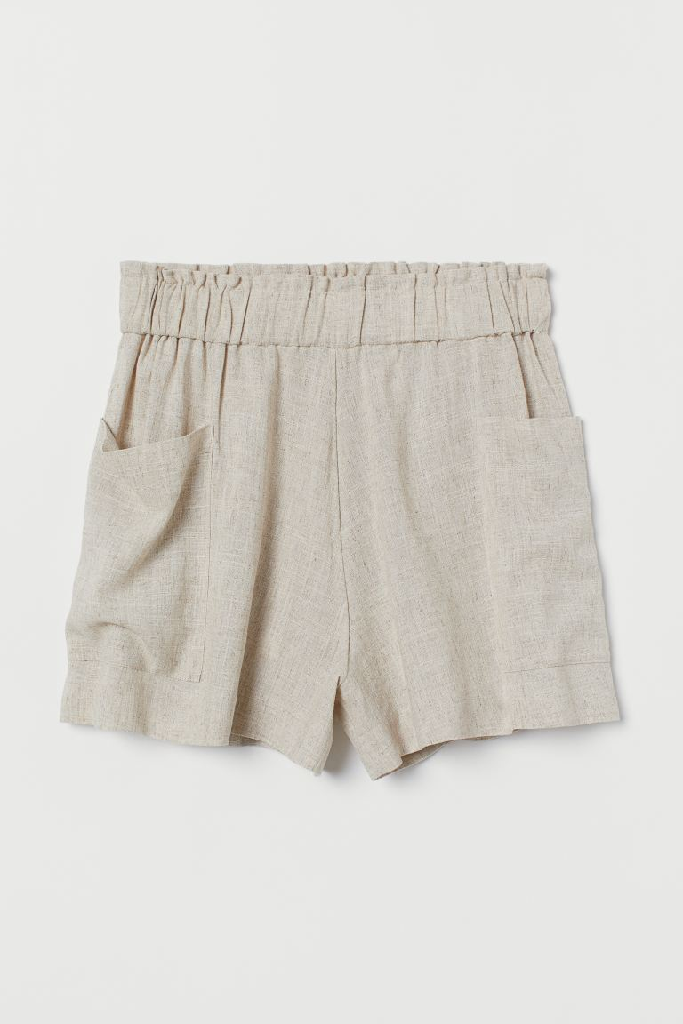 Shorts in Leinenmix High Waist - Hellbeigemeliert - Ladies | H&M AT