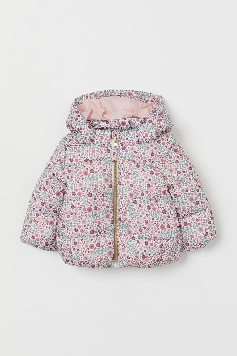 Hooded Puffer Jacket - White/pink floral - Kids | H&M US