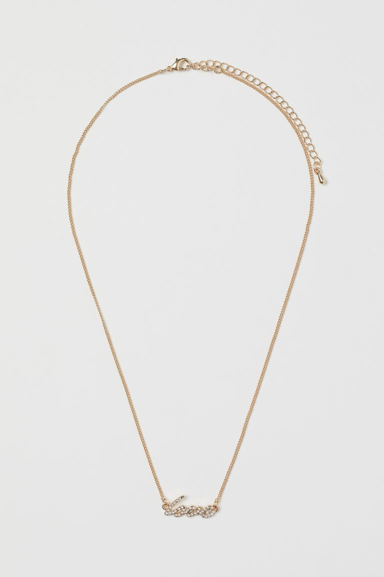 Short Pendant Necklace - Gold-colored/rhinestones - Ladies | H&M US