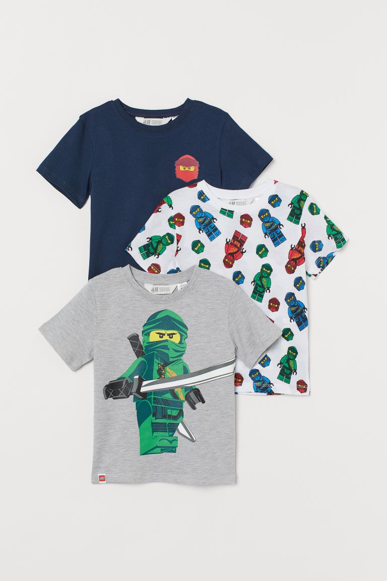 3-pack printed T-shirts - White/Ninjago - Kids | H&M GB