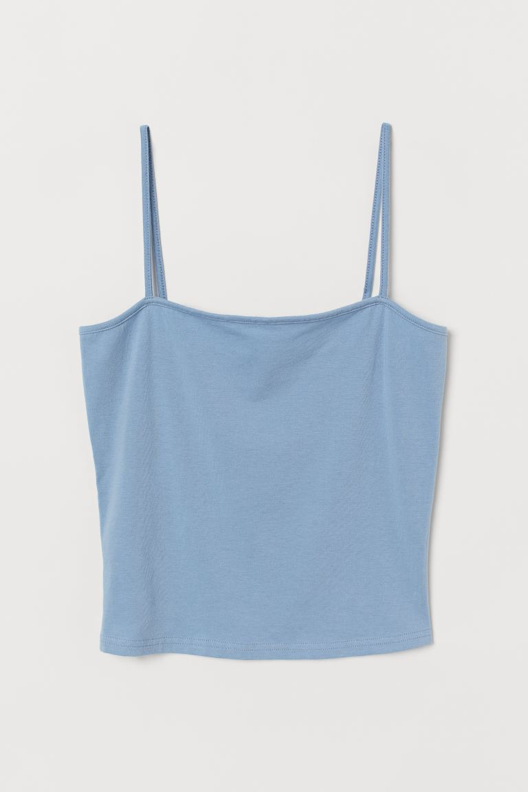 Cropped Jersey Camisole Top - Light blue - Ladies | H&M US