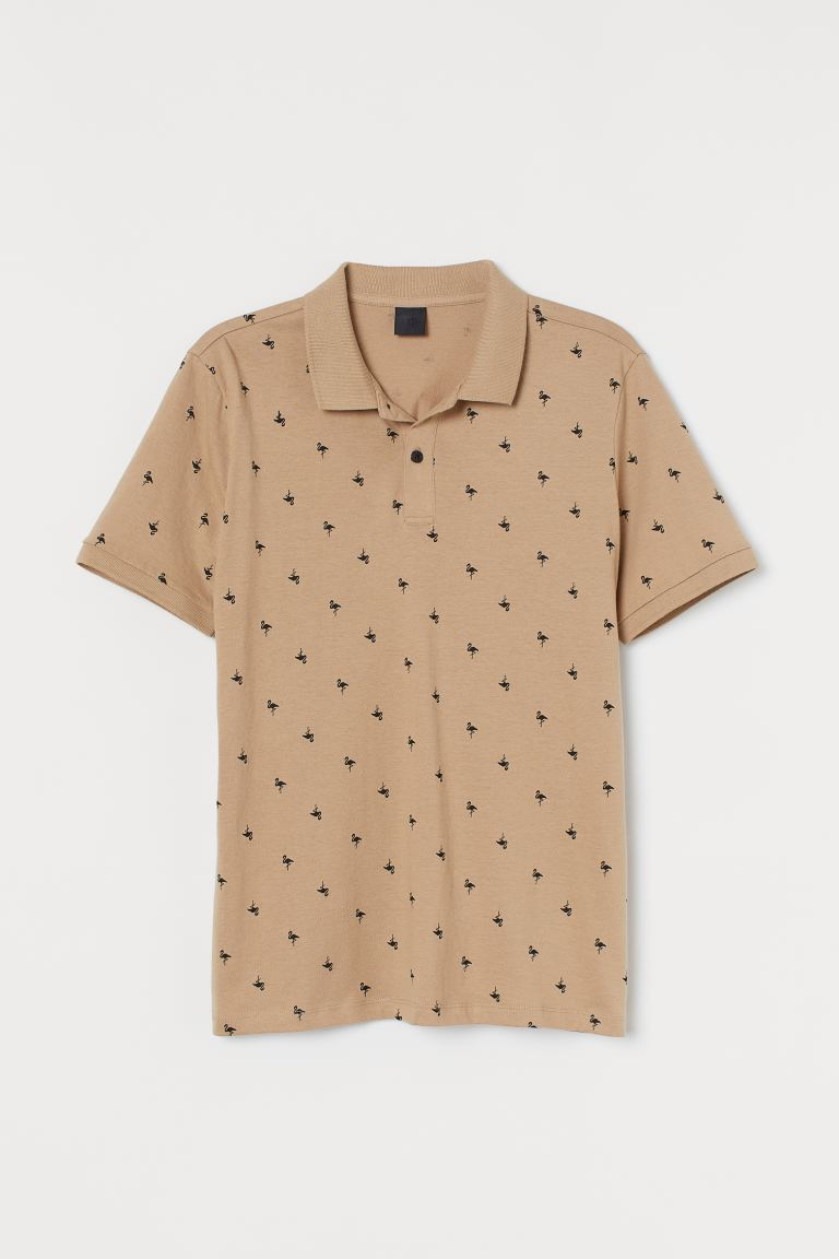 Polo shirt Slim Fit - Beige/Flamingos - Men | H&M IN