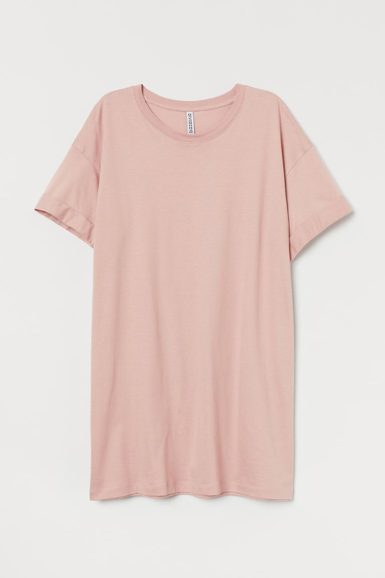 Long T-shirt - Powder pink - Ladies | H&M GB