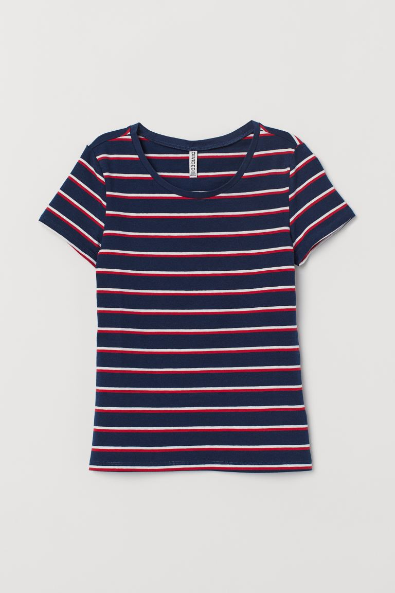 Cotton T-shirt - Dark blue/Striped - Ladies | H&M GB