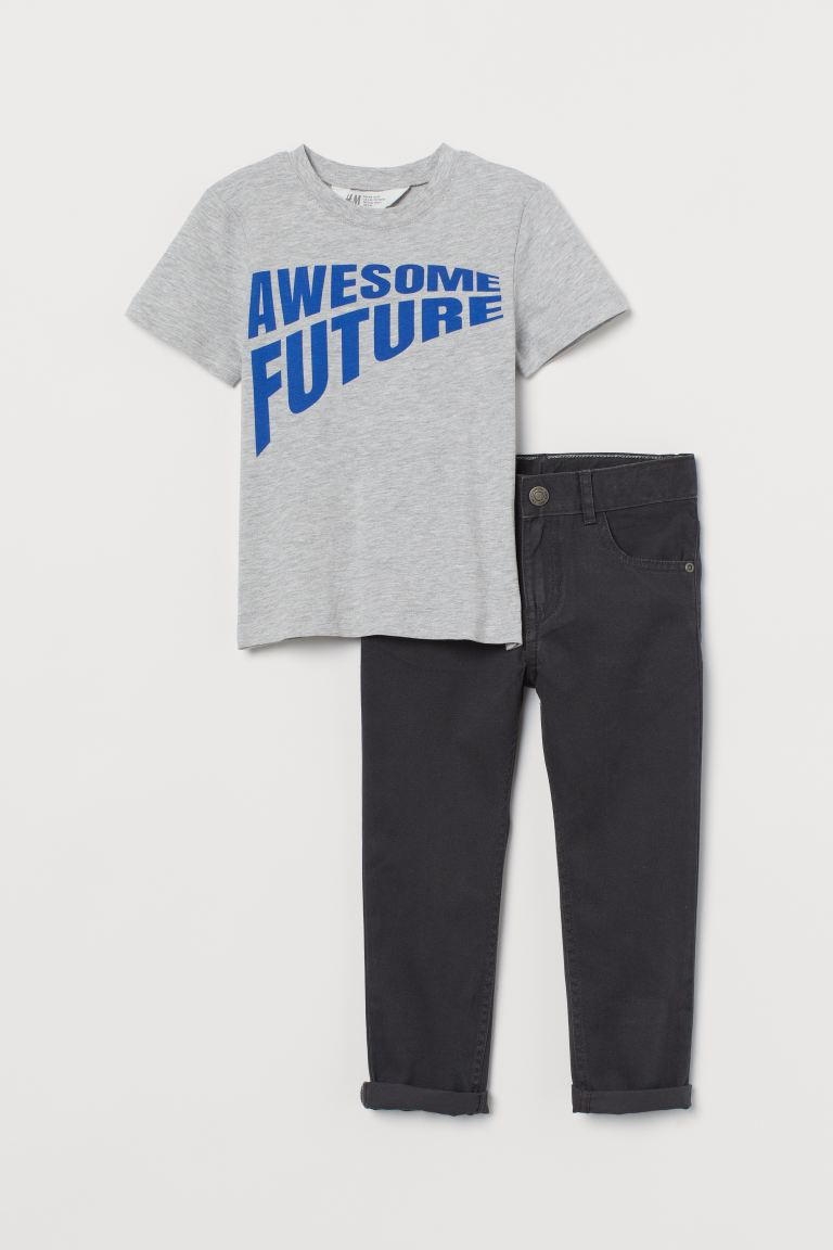 2-teiliges Set aus Baumwolle - Hellgraumeliert/Awesome Future - Kids | H&M DE
