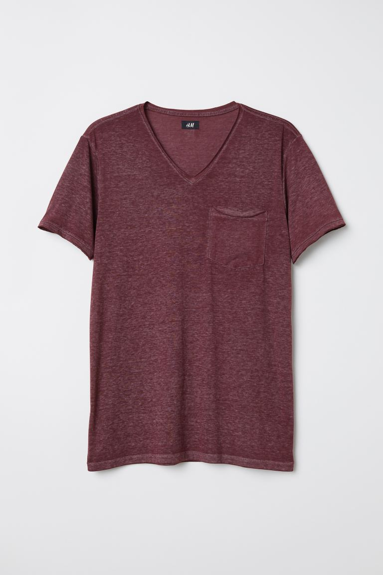 Raw-edge T-shirt - Dark red marl - Men | H&M IN