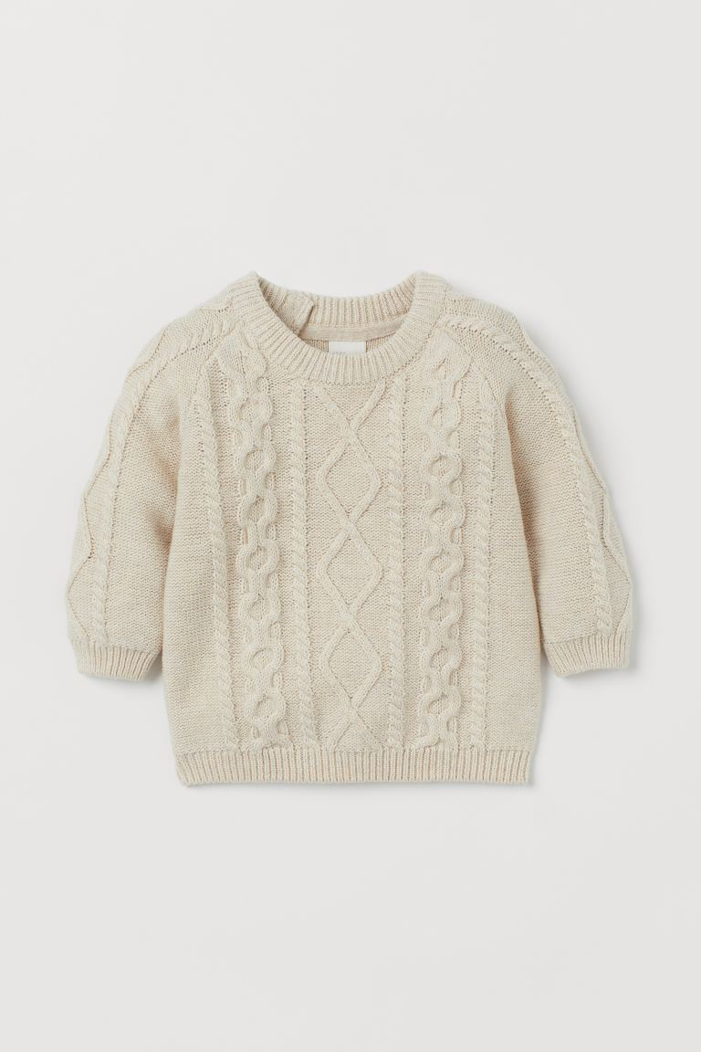 Cable-knit Sweater - Powder beige - Kids | H&M CA