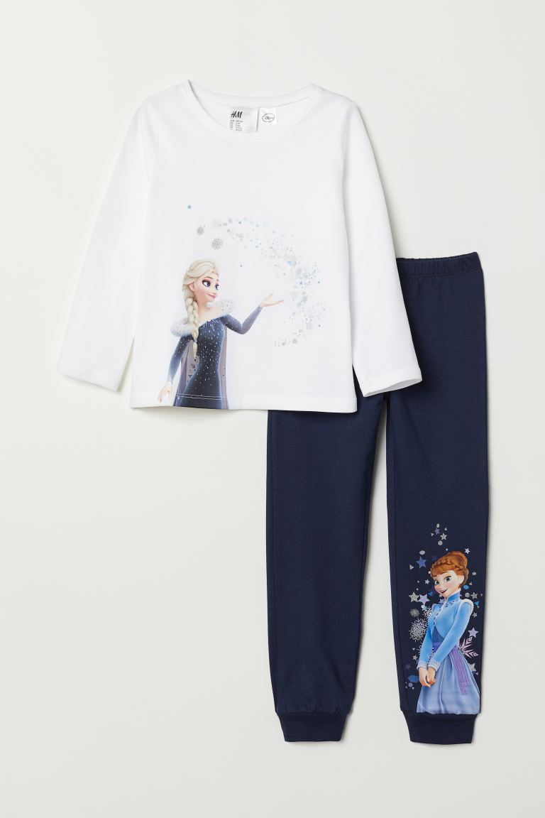 Jersey pyjamas - White/Frozen - Kids | H&M