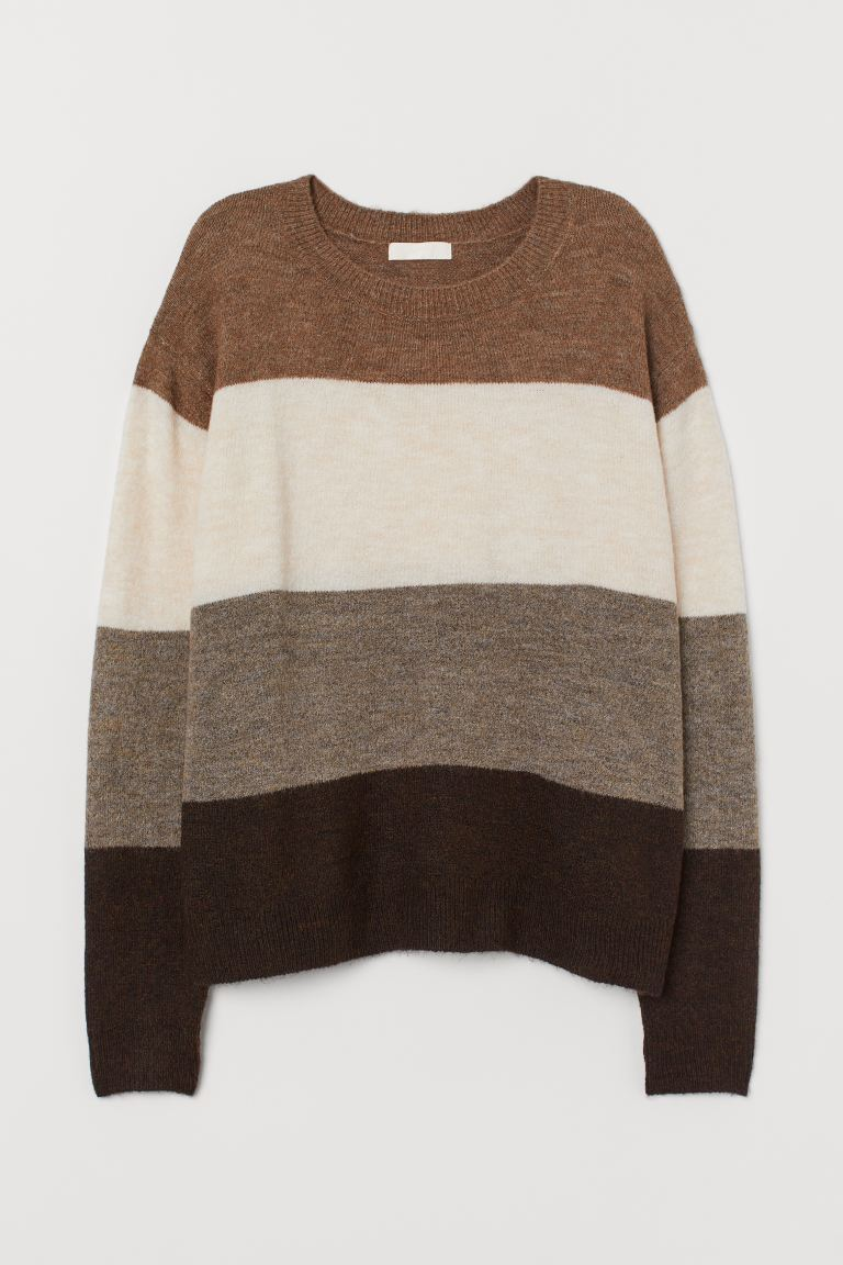 Fine-knit Sweater - Brown/color-block - Ladies | H&M US