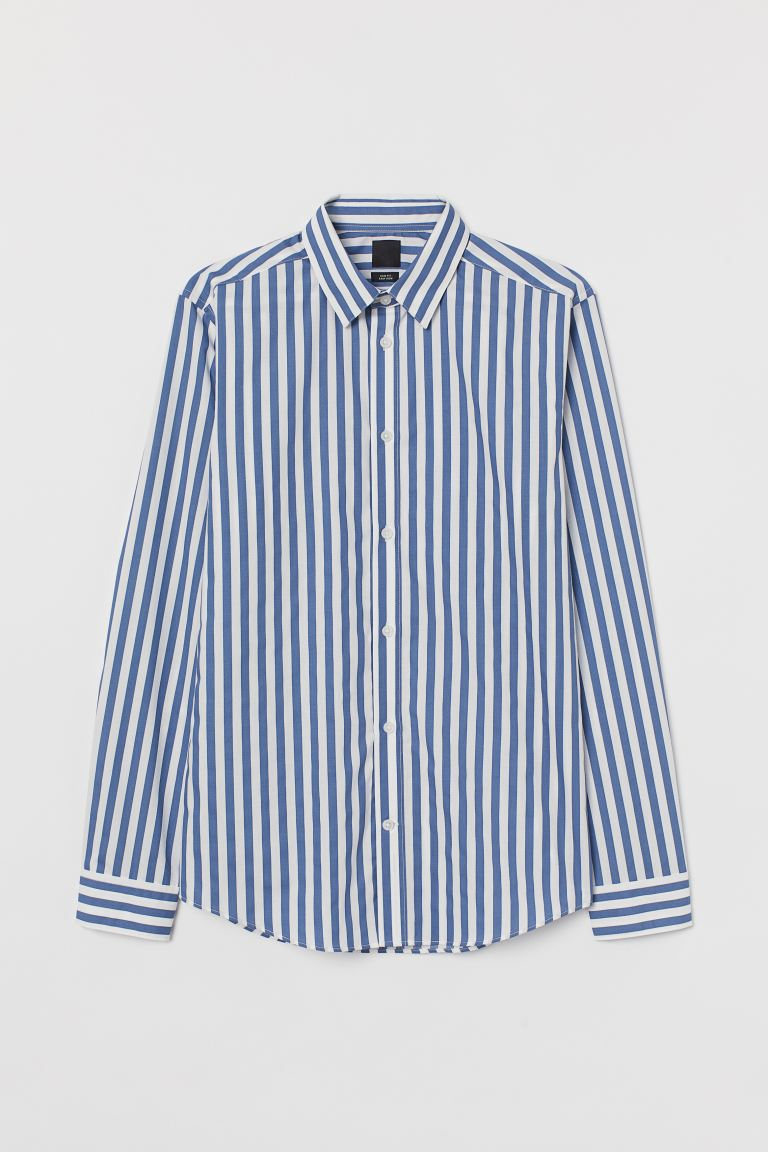 Easy-iron shirt Slim Fit - Blue/White striped - Men | H&M IN