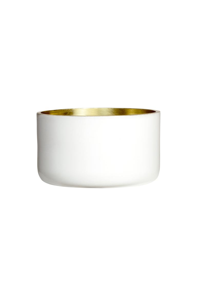 Small Metal Tea Light Holder - White - Home All | H&M CA