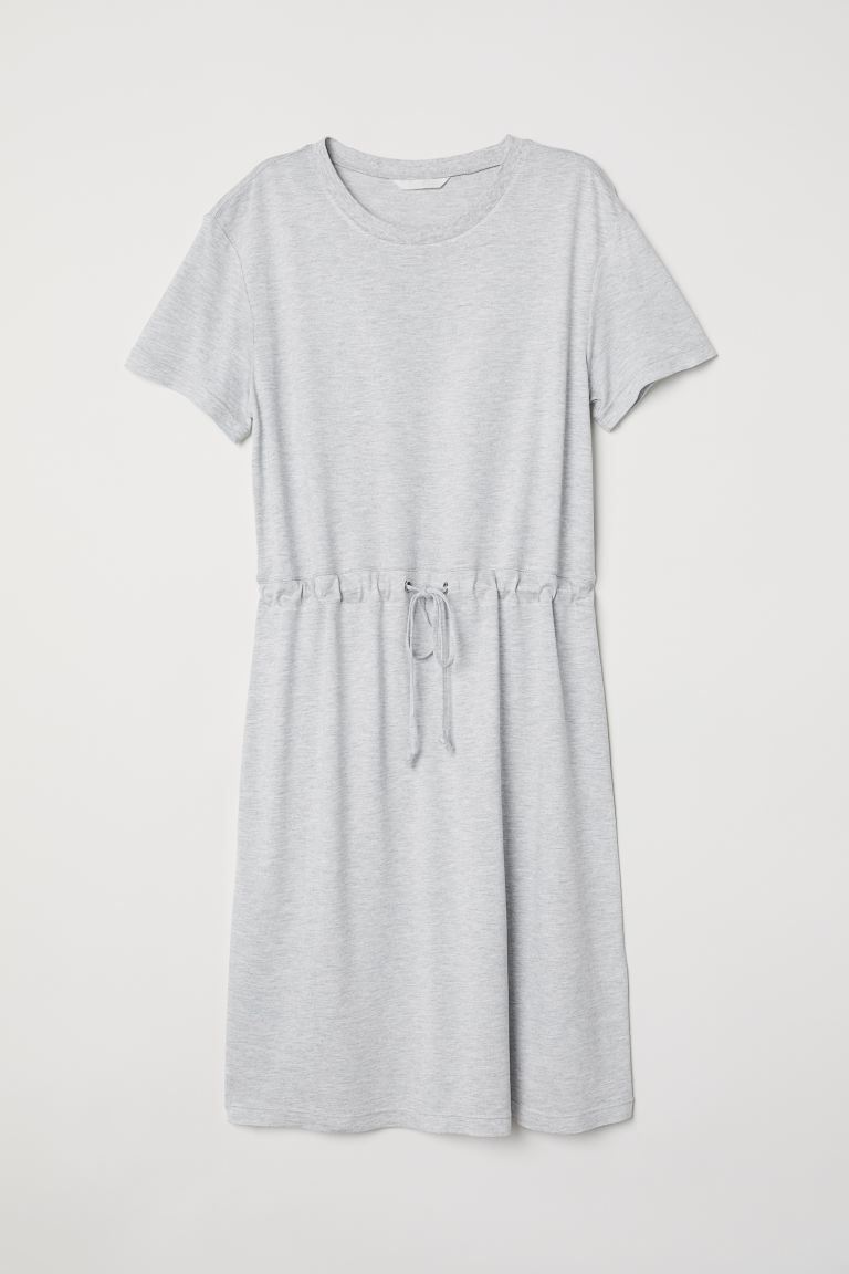 Jersey dress with a drawstring - Light grey marl - Ladies | H&M GB