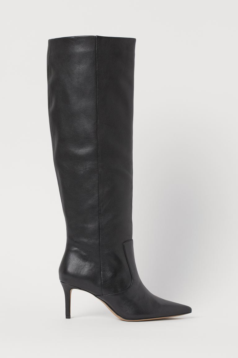 Kniehohe Lederstiefel - Schwarz - Ladies | H&M AT