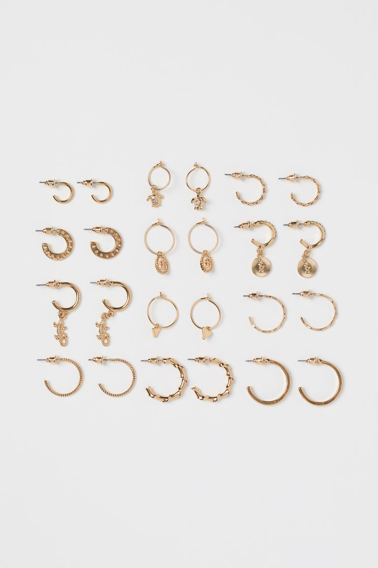 12 Pairs Earrings - Gold-colored - Ladies | H&M US