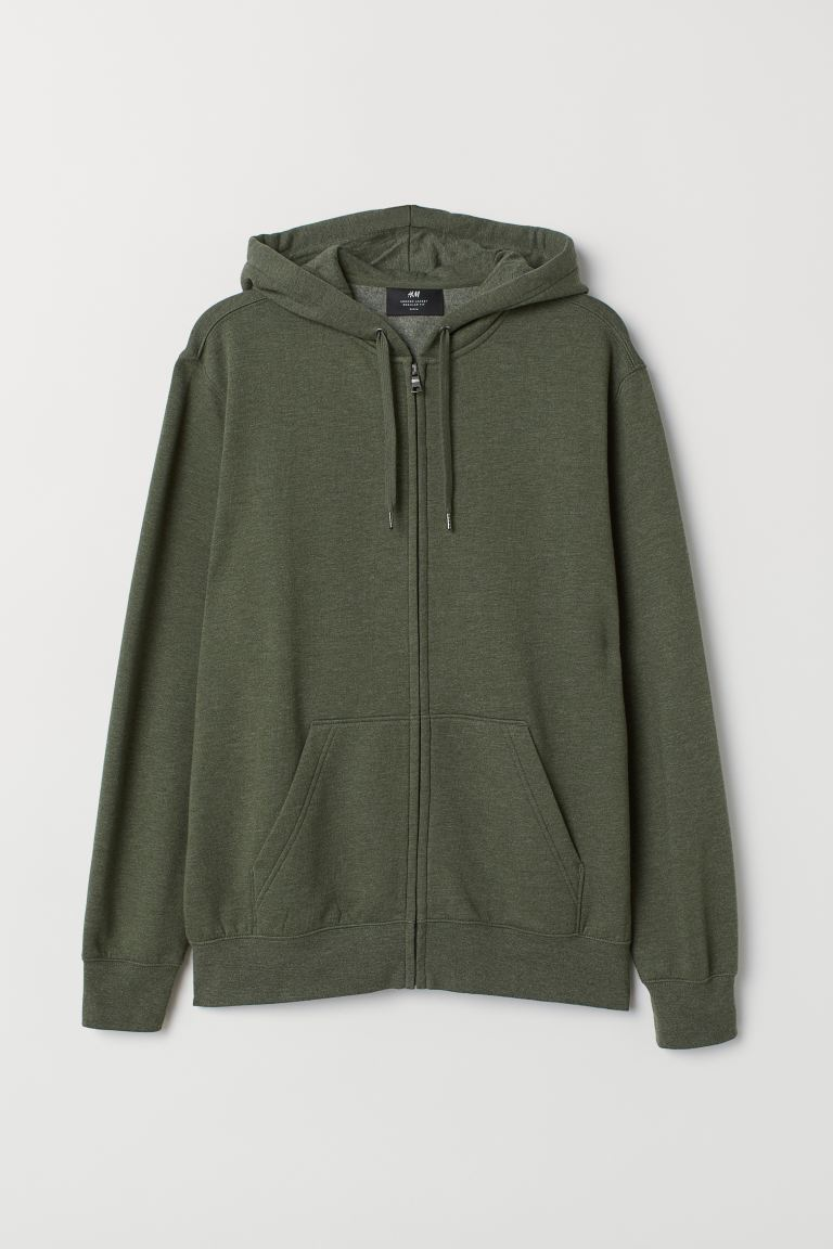 Regular Fit Hooded Jacket - Green melange - Men | H&M CA