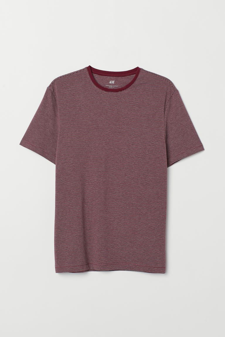 Slim Fit Round-neck T-shirt - Red/gray striped - Men | H&M US