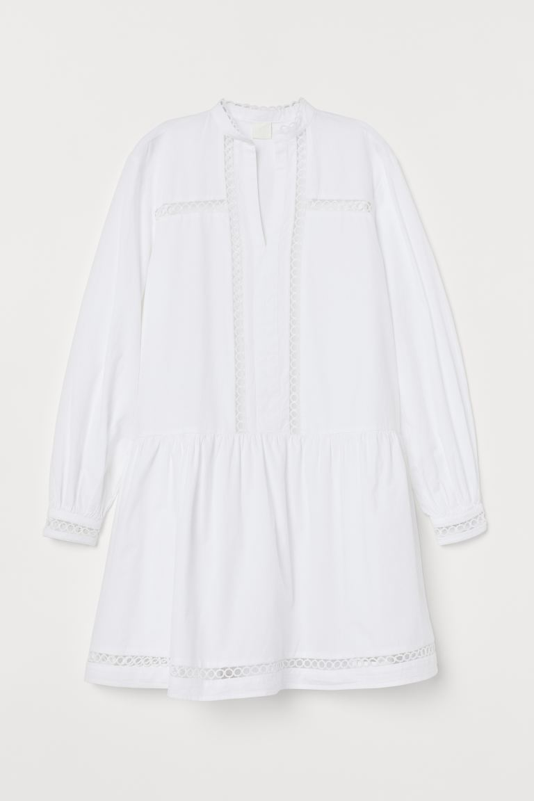 Dress with hole-pattern trims - White - Ladies | H&M GB