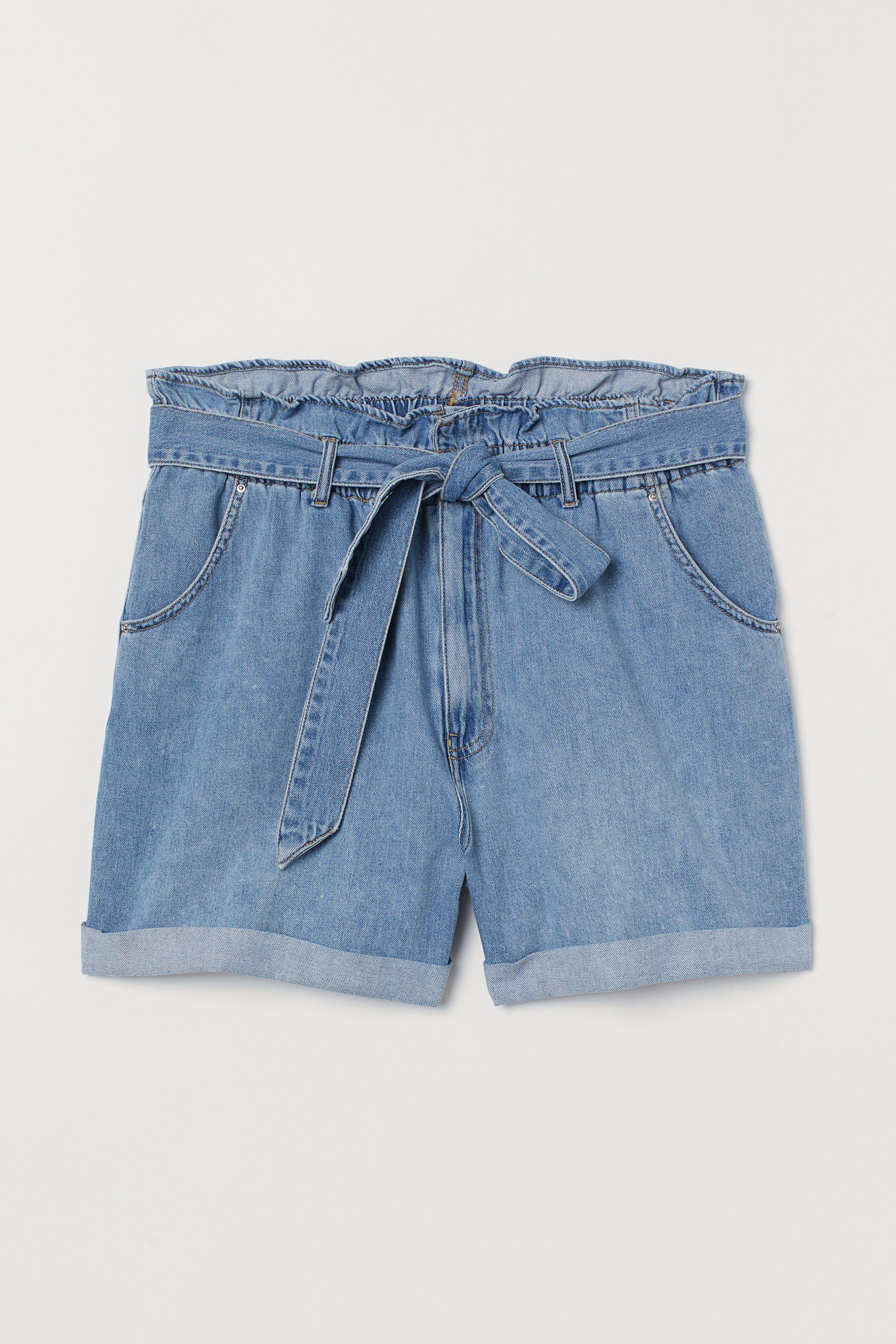 H&M+ Denim Paper-bag Shorts