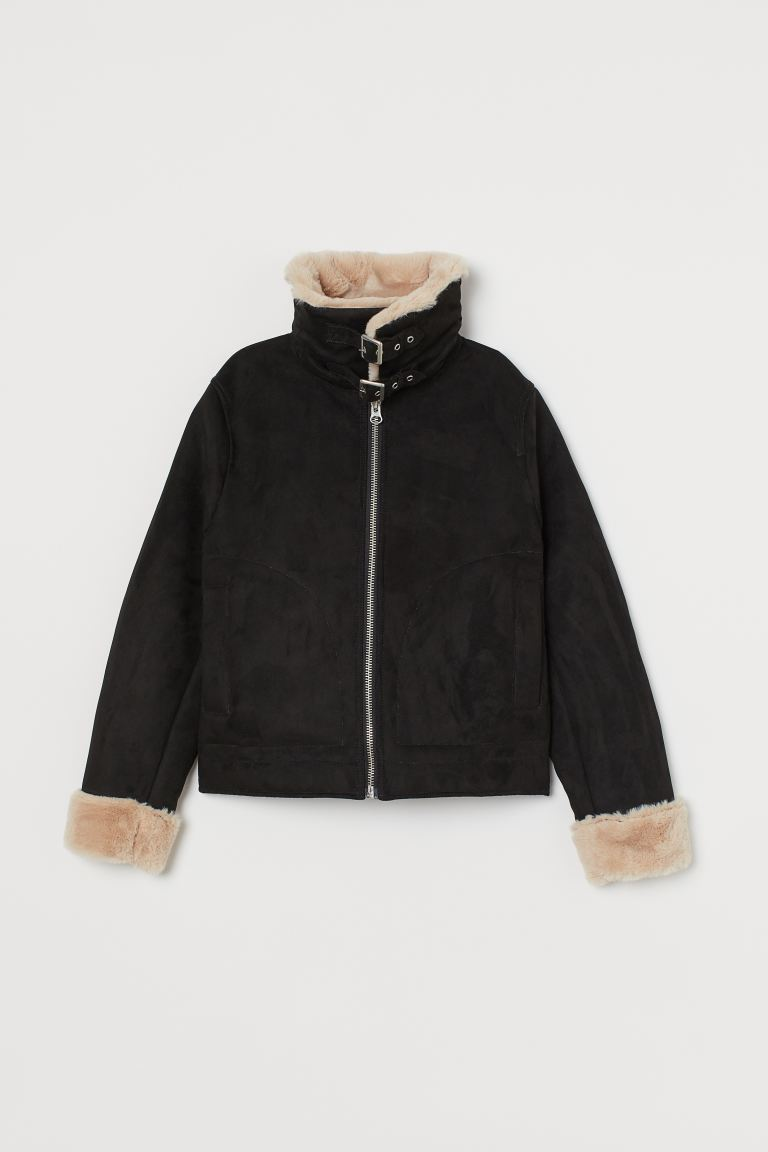 Faux Fur-lined Jacket - Black - Ladies | H&M US