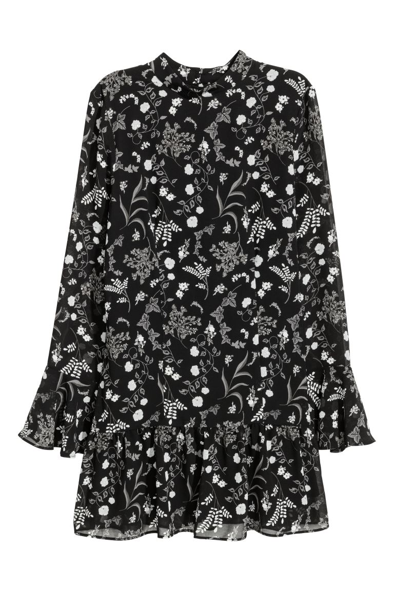 Flounced dress - Black/floral - Ladies | H&M CA