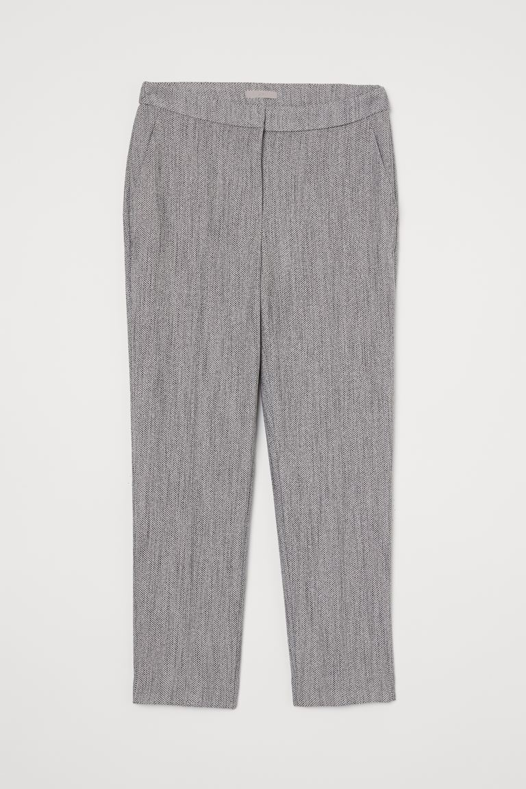 Cigarette trousers - Light grey/Herringbone pattern - Ladies | H&M GB