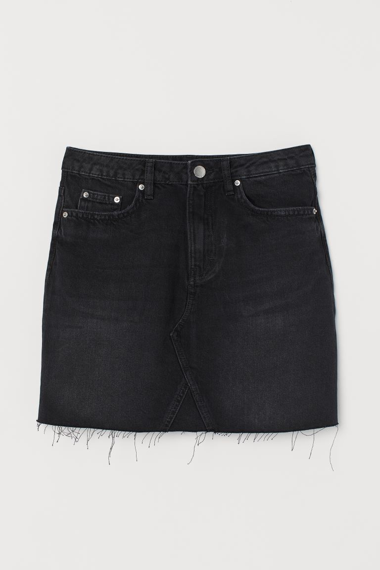 Denim skirt - Black denim - Ladies | H&M GB