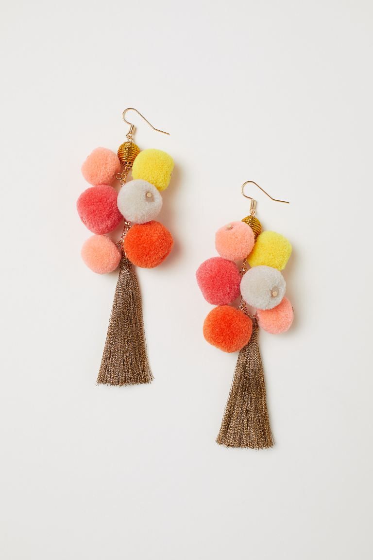 Pompom earrings - Copper-coloured/Multicoloured - Ladies | H&M GB