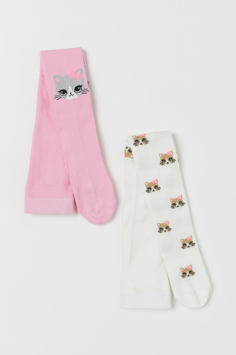 2-pack Fine-knit Tights - Pink/cat - Kids | H&M US