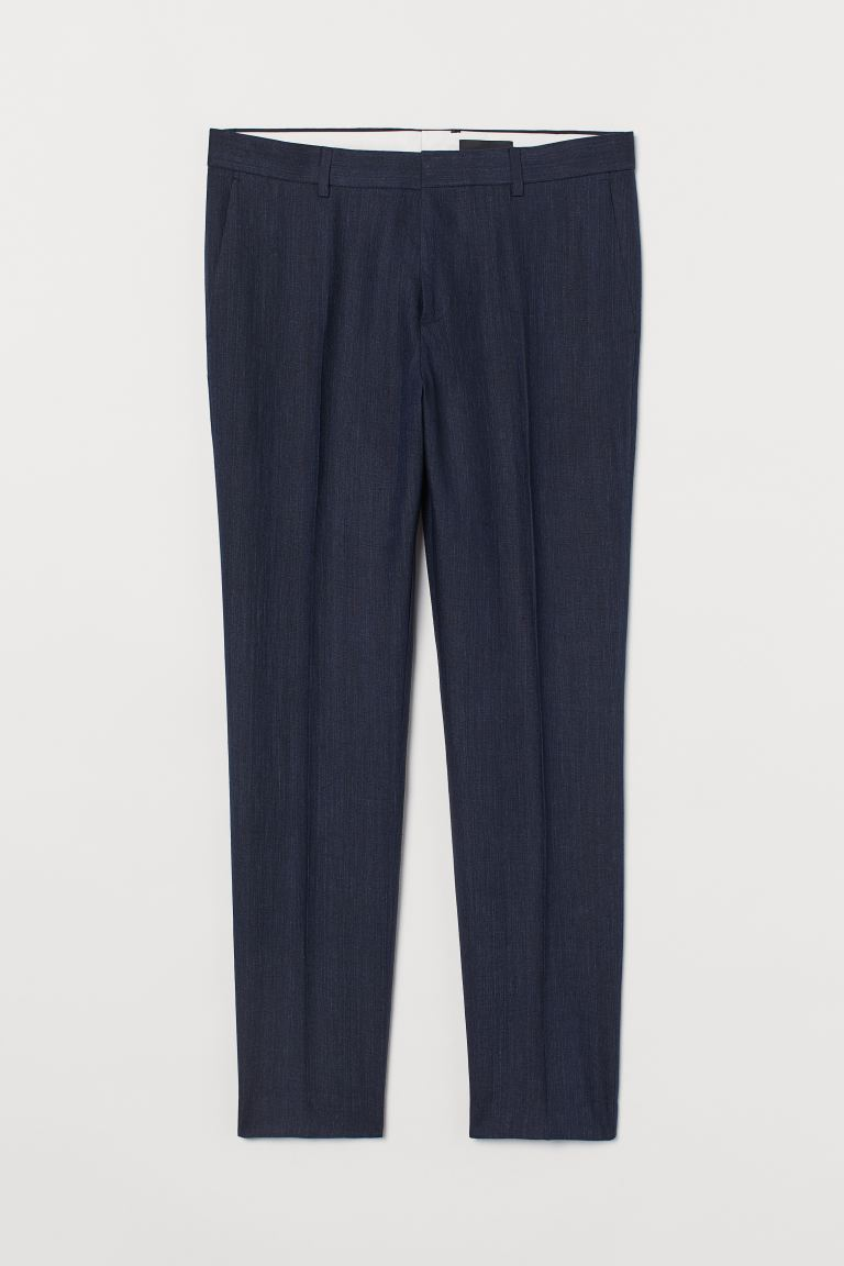 Slim Fit Linen Suit Pants - Dark blue melange - Men | H&M CA