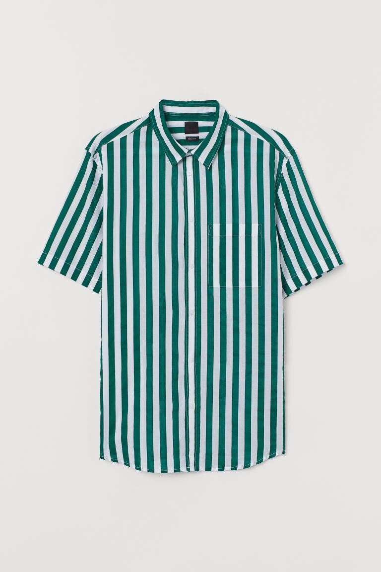 Cotton shirt Regular Fit - White/Green striped - Men | H&M GB