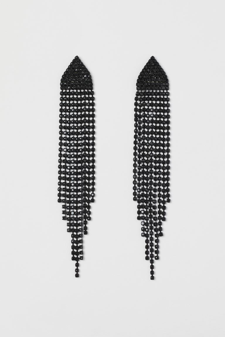 Long Rhinestone Earrings - Black - Ladies | H&M CA