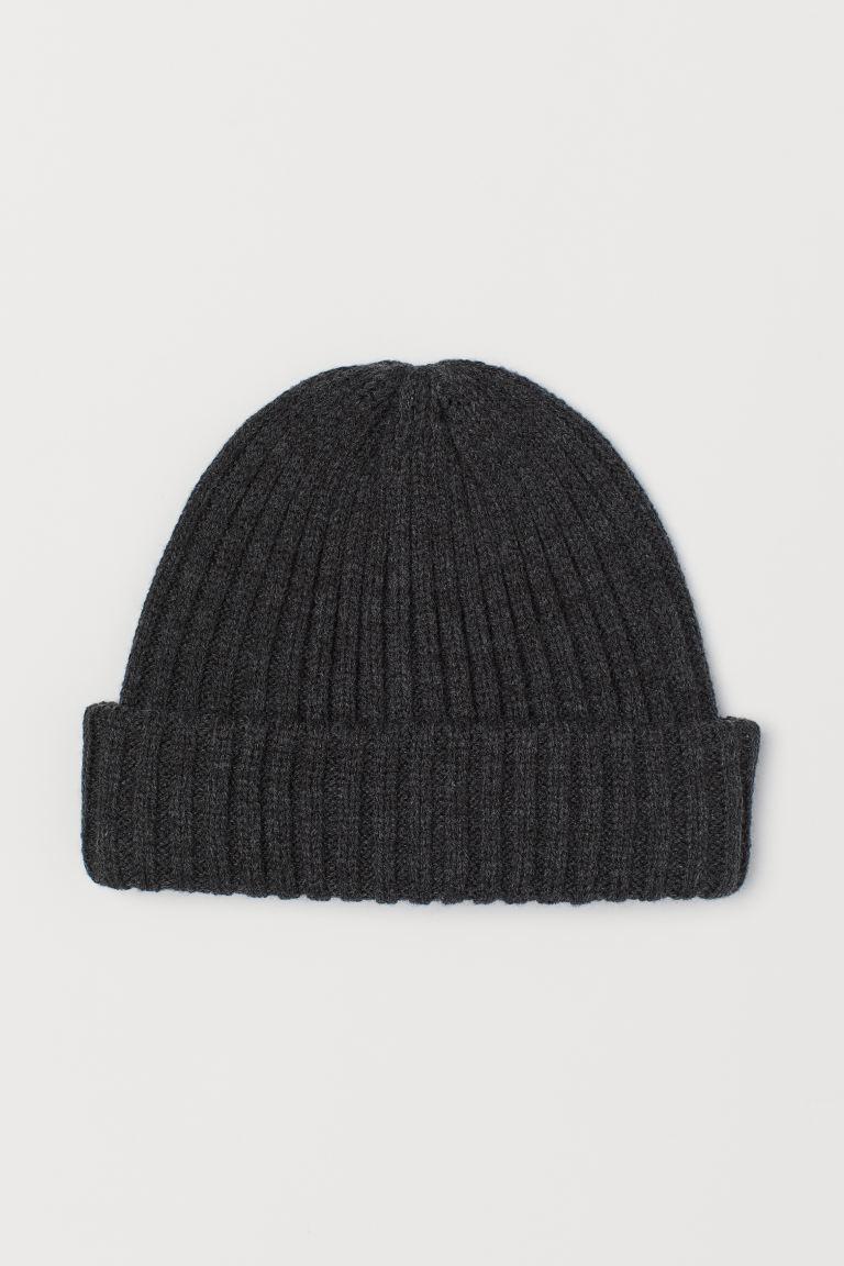 Rib-knit hat - Dark grey - Men | H&M IE