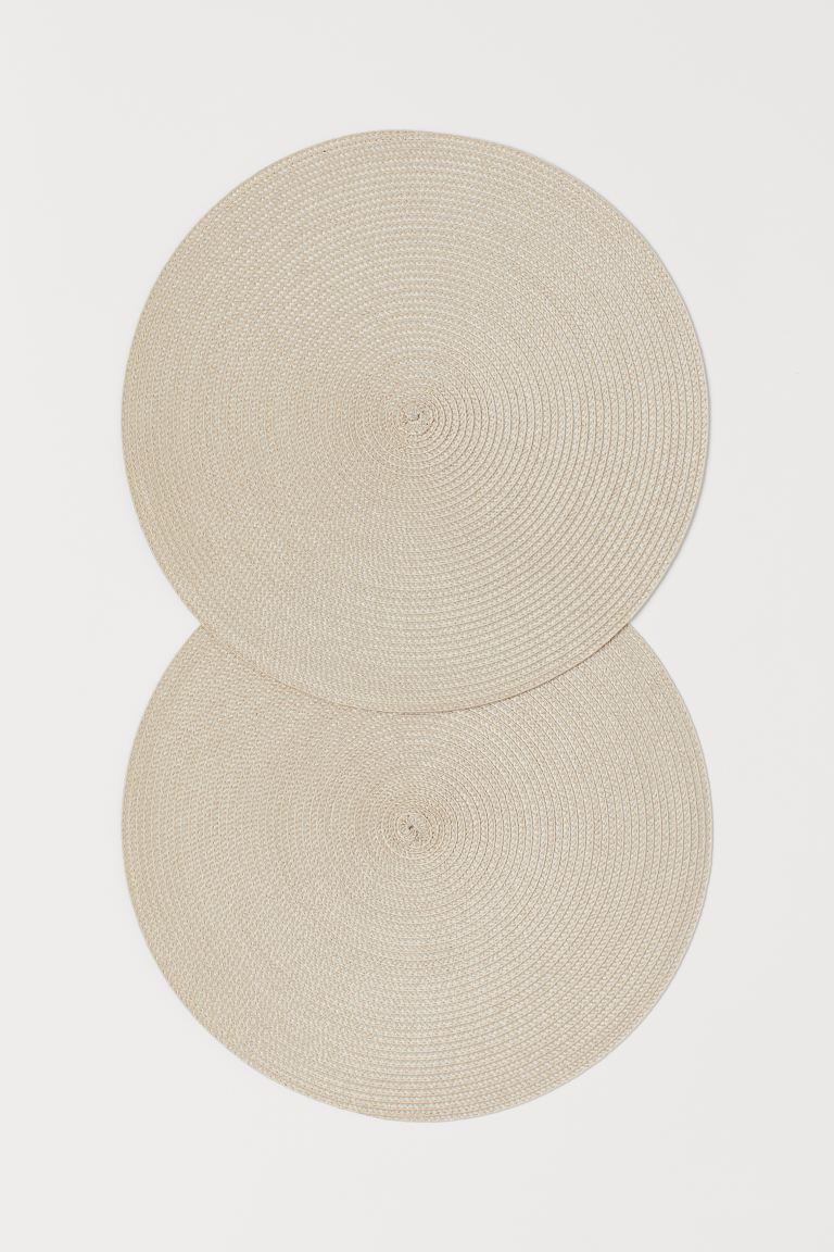2-pack Round Placemats - Light beige - Home All | H&M CA