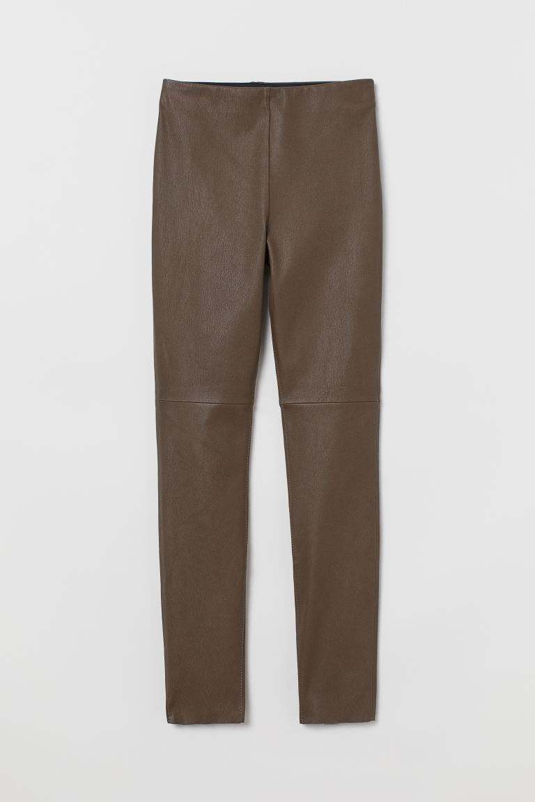 Leather leggings - Greige - Ladies | H&M GB