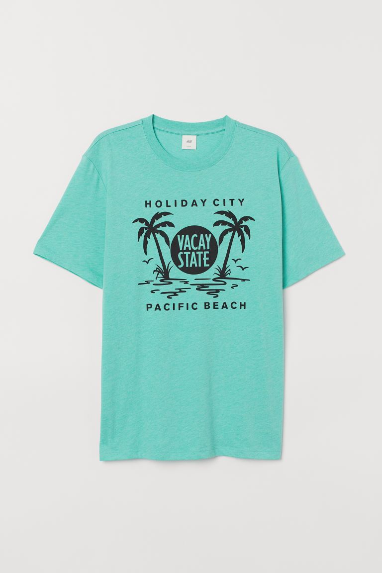Printed T-shirt - Light green marl/Vacay State - Men | H&M IN