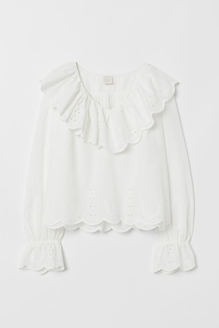 Blouse with broderie anglaise - White - Ladies | H&M IE