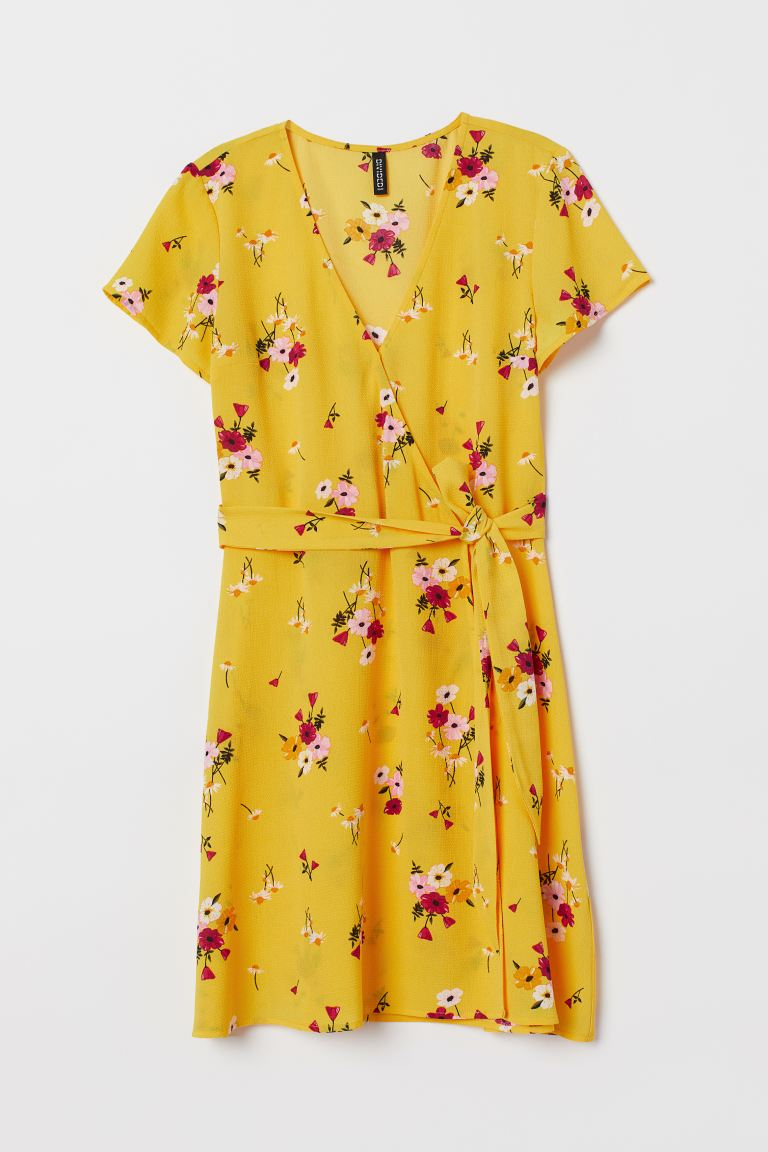 Crêped Wrap-front Dress - Yellow/floral - Ladies | H&M US