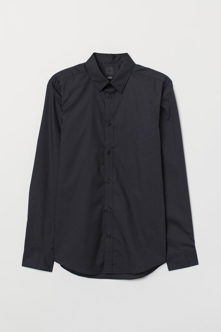 Slim Fit Easy-iron Shirt - Black - Men | H&M US