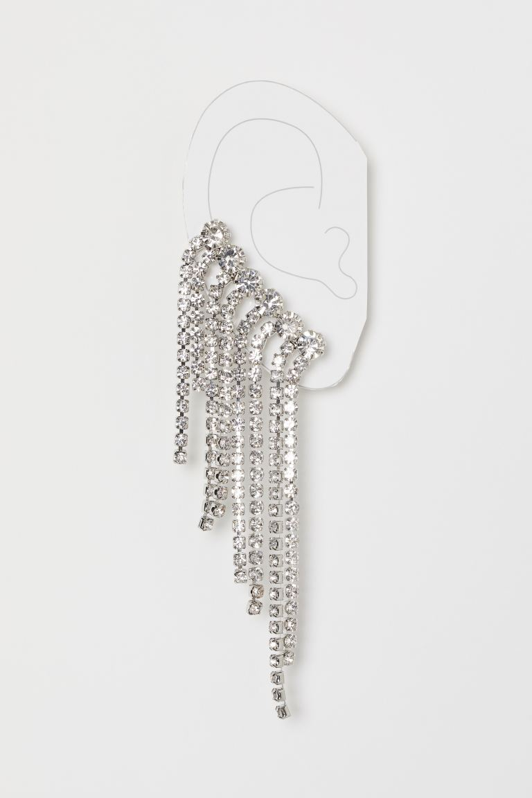 Rhinestone ear decoration - Silver-coloured - Ladies | H&M