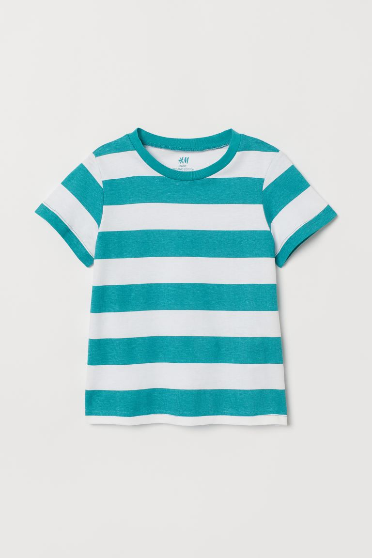 Cotton T-shirt - Mint green/White striped - Kids | H&M IN