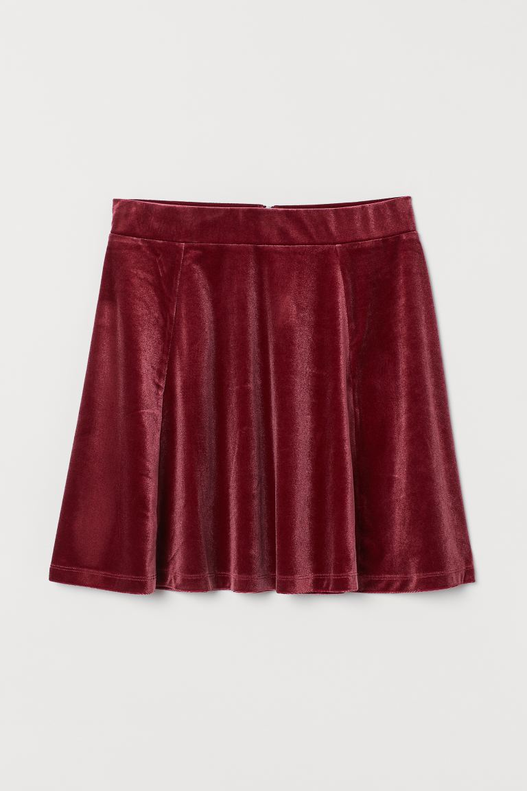 Skater Skirt - Dark red/velour - Ladies | H&M US