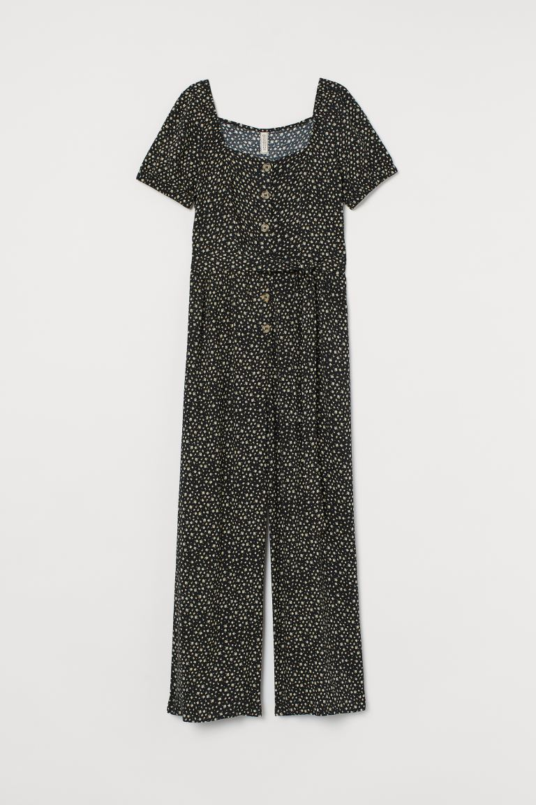 Patterned jumpsuit - Black/Yellow floral - Ladies | H&M