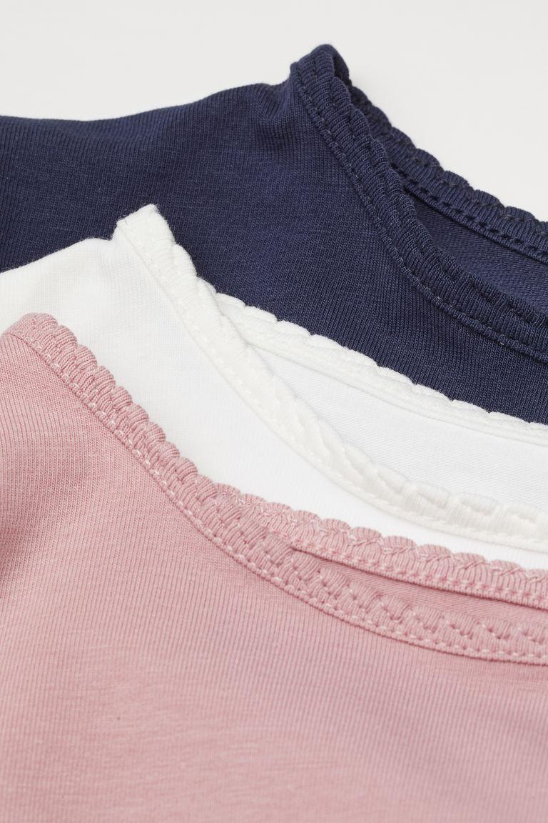 Set van 3 T-shirts - Lichtroze/wit/marineblauw - KINDEREN | H&M BE 2