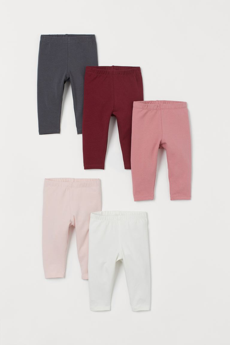 5-pack jersey leggings - Dark red/Multicoloured - Kids | H&M IN
