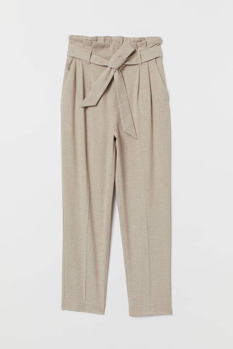 Paper bag trousers - Light beige - Ladies | H&M IE