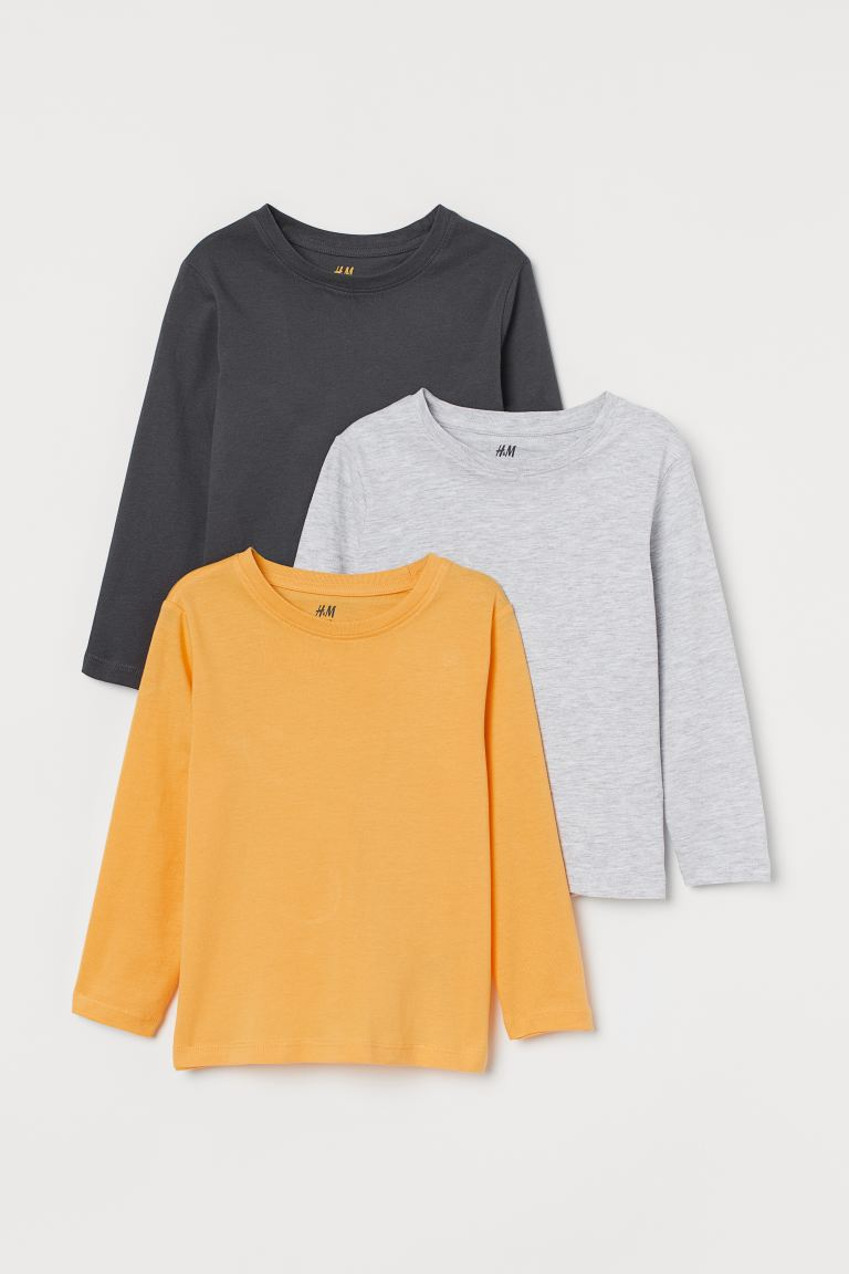 3-pack Jersey Shirts - Yellow/light gray melange - Kids | H&M CA